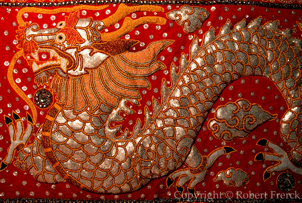 THAILAND, NORTH, GOLDEN TRIANGLE Chiang Mai, display of traditional Burmese quilted textile designs
