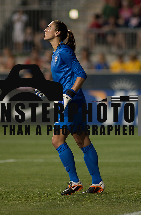 05/27/12 Chester PA: US Keeper Hope Solo #1 watches the action come towards her during the second half of a international friendly game against China Sunday May. 27, 2012, at PPL Park in Chester PA. ..The United States lead 2-1 at halftime, US Attacker Alex Morgan scores 2 goal and Zhang Rui scored one goal during the 4-1 victory over China..The News Journal/SAQUAN STIMPSON.