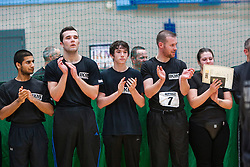 P1 students wait at the end. Franklyn Hartkamp takes the Institute Of Krav Maga Scotland grading today at Stirling.<br /> &copy;Michael Schofield.