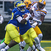 Delaware defensive back Malcolm Brown (1) returns a punt during a week nine Colonial Athletic Association Conference game between the Delaware Blue Hens and the Albany Great Danes Saturday, Nov. 07, 2015 at Tubby Raymond Field at Delaware Stadium in Newark, DE.