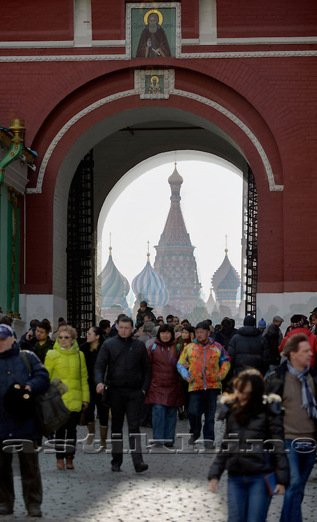 Voskresensky gates is the main entrance to Red Square, Moscow(Russia).