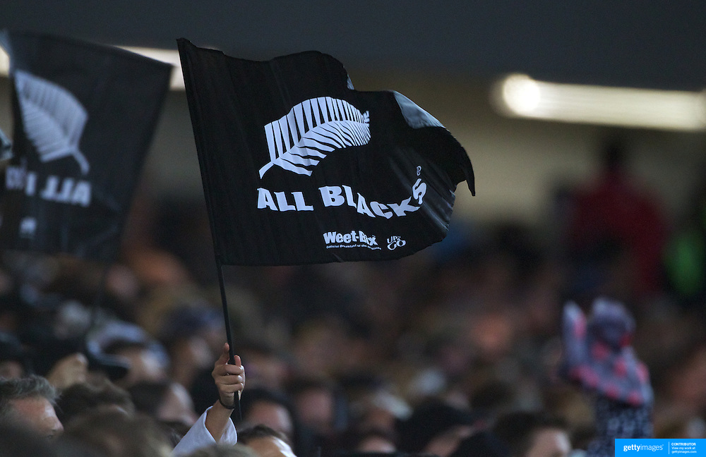 All Blacks fans wave flags during the New Zealand V Australia Tri-Nations, Bledisloe Cup match at Eden Park, Auckland. New Zealand. 6th August 2011. Photo Tim Clayton
