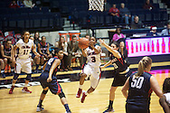 "Ole Miss' Valencia McFarland (3) vs. Belmont's Katie Carroll (10) at the C.M. ""Tad"" Smith Coliseum in Oxford, Miss. on Sunday, December 16, 2012. Ole Miss won 63-48."