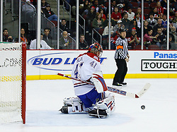 Jan 2, 2009; Newark, NJ, USA; Montreal Canadiens goalie Jaroslav Halak (41) makes a pad save during the second period at the Prudential Center.