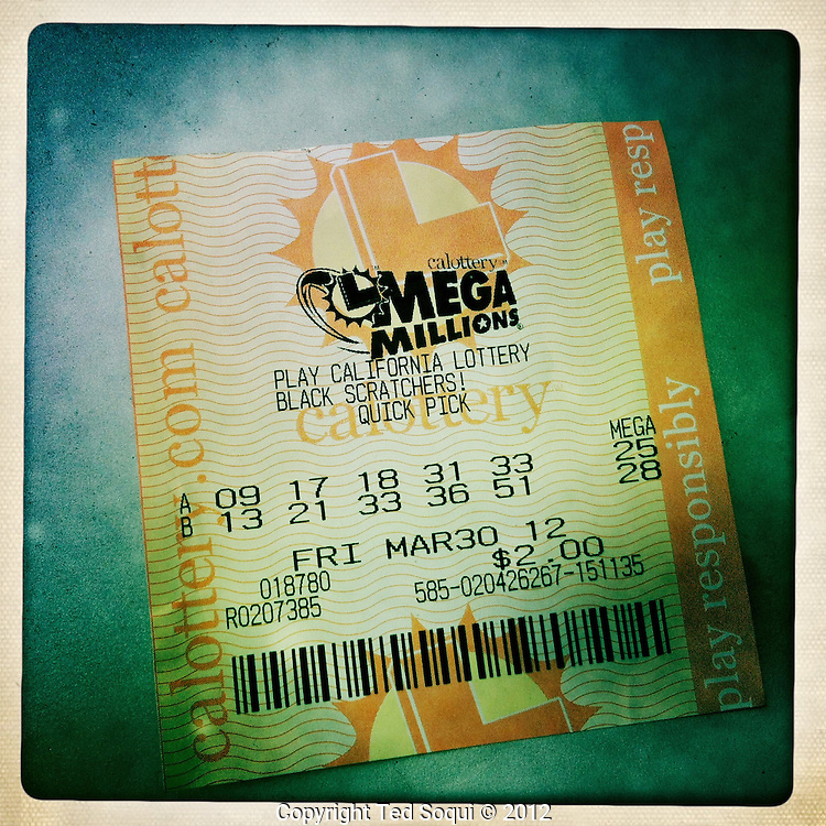 A California Mega Millions lottery ticket.