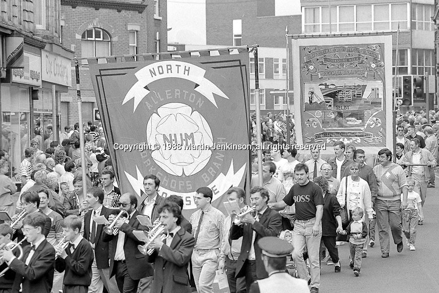Allerton Workshop Branch and Riccall banners. 1988 Yorkshire Miner's Gala. Wakefield.