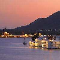 Taj Lake Palace at dusk,Udaipur,Rajasthan,India,Asia
