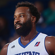 Delaware 87ers Guard BARON DAVIS (24) walks onto the floor in the first half of a NBA D-league regular season basketball game between the Delaware 87ers and the Erie BayHawks Tuesday, Mar. 29, 2016, at The Bob Carpenter Sports Convocation Center in Newark, DEL.