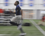 Wesley Pendelton runs the 40 yard dash at Ole Miss Pro Day at the Indoor Practice Facility in Oxford, Miss. on Thursday, March 7, 2013.