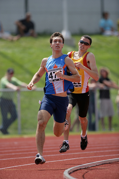 (Charlottetown, Prince Edward Island -- 20090719) Anthony Romaniw of Runners Edge Track Club competes in the 800m final at the 2009 Canadian Junior Track & Field Championships at UPEI Alumni Canada Games Place on the campus of the University of Prince Edward Island, July 17-19, 2009.  Copyright Sean Burges / Mundo Sport Images , 2009.