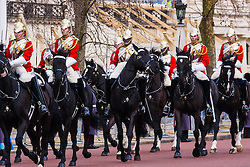 London, March 3rd 2015. Mexican President Enrique Pena Nieto travels with Her Majesty The Queen and other members of the Royal Family by State Carriage along the Mall towards a luncheon at Buckingham Palace after a ceremonial welcome at Horseguards Parade.