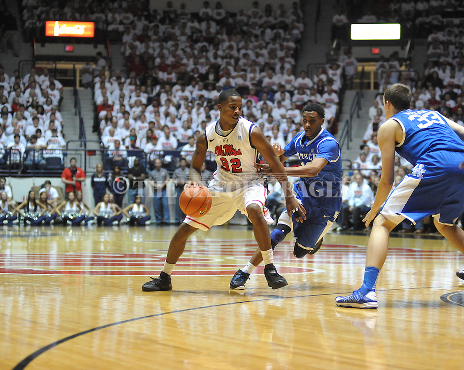 "Ole Miss' Jarvis Summers (32) vs. Kentucky's Ryan Harrow (12) at the C.M. ""Tad"" Smith Coliseum on Tuesday, January 29, 2013.  (AP Photo/Oxford Eagle, Bruce Newman).."