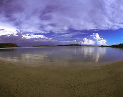 Storms approach near Kingfisher Island at the bottom of Collier Bay in the Kimberley wet season.