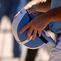 horseball player worldcup in argentina holding his helmet