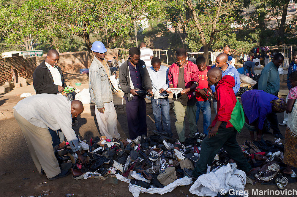 Blantyre, Malawi, June 2011. The market, Blantyre, where second hand clothes, many donated from Europe and America, are cleaned up and sold in this extremely poor nation. The southern city of Blantyre is home to the University of Malawi's College of Medicine. Photo Greg Marinovich