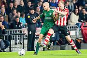 EINDHOVEN - PSV - SC Genemuiden , Voetbal , KNVB Beker , Seizoen 2015/2016 , Philips stadion , 25-10-2015 , PSV speler Jorrit Hendrix (r) in duel met Genemuiden speler Martijn Jansen (l)