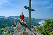The Donausteig hiking trail along the Danube River between Germany and Austria
