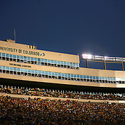 SHOT 10/4/08 5:52:02 PM - The sun sets on the University of Colorado's Folsom Field as they play against Texas during the first half on October 4, 2008 in Boulder, Co. Colorado football fans didn't have much to cheer about as Texas rolled to a 38-14 victory behind 431 yards of total offense in the game..(Photo by Marc Piscotty / © 2008)