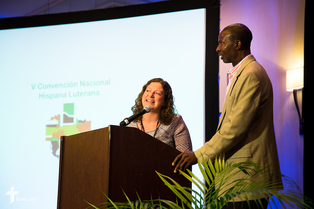"""Dr. Folabi Olagbaju, director for outreach at Lutheran Immigration and Refugee Services, speaks through an interpreter on Wednesday, July 29, 2015, during the 5th Hispanic National Convention, """"¡Come and See!: Celebrating Our Gifts,"""" at the Grand Hyatt Tampa Bay in Tampa, Fla. LCMS Communications/Pamela Nielsen"""