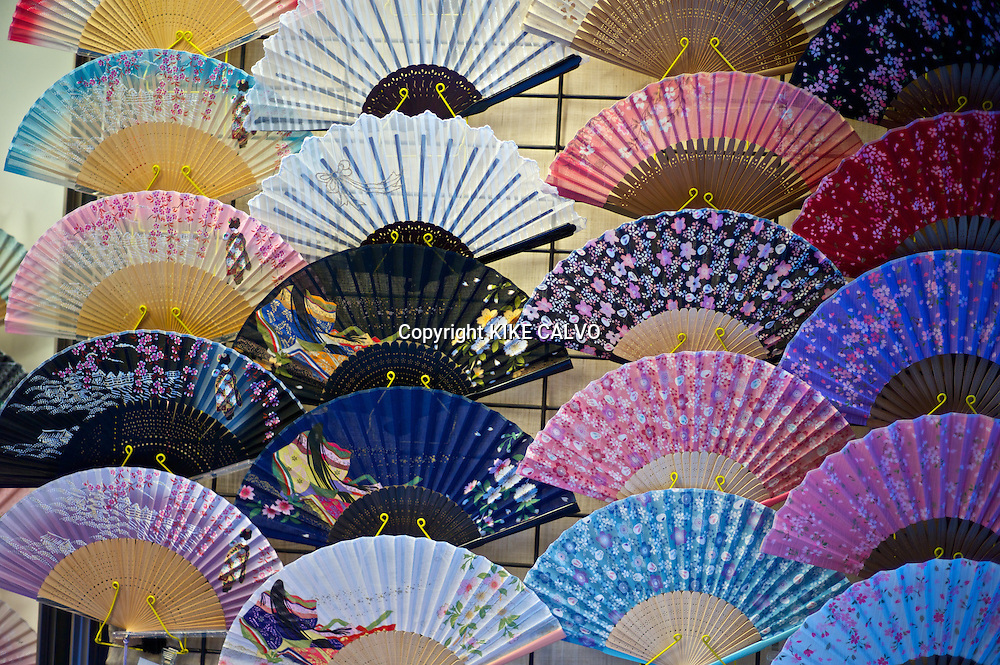 Traditional folding fans at the stores and shops near the Kiyomizu Temple.