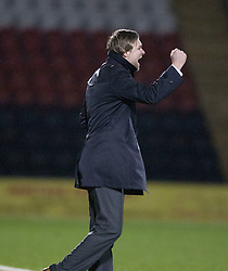 Steven Pressley, Falkirk manager after the second goal..Airdrie United 1 v 4 Falkirk, 22/12/2012..©Michael Schofield.