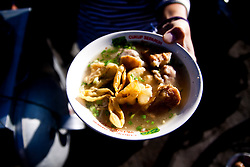 A bowl of breakfast noodles sold at Mount Bromo in East Java, Indonesia, Southeast Asia