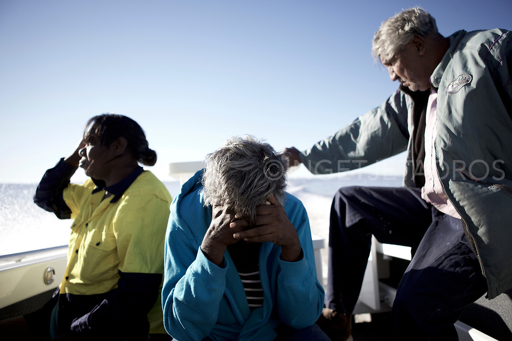 &quot;It's worser to live in town as there is excess to grog and ganja, houses are overcrowded and now there are suicide too&quot;, &quot;and we not allowed to go back.&quot; said Anthony Clark while taking the 1 2/2 hr boat trip back to Oombulgurri.<br /> (L-R) Fiona Unchngoo,Geraldine Mitchell and Anthony Clark) <br /> <br /> Oombulgurri is an Aboriginal community in the East of the Kimberley, with a population of 107 (in 2006) Before this time over 400 people used to live here.<br /> In 2011, the families from Oombulgurri were evicted from their homes after the government of Western Australia deemed the community &quot;unviable&quot;.<br /> Oombulgurri, Western Australia