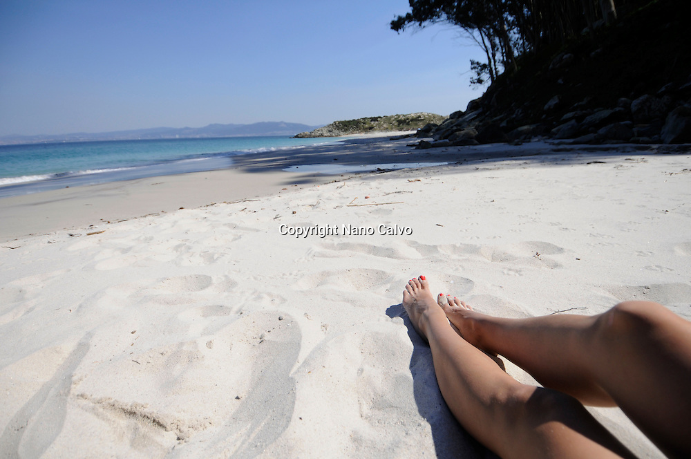 Figueiras Beach (Praia das Figueiras) in Cies Islands (Islas C&iacute;es), a paradisiac archipelago and Natural Reserve since 1908, off the coast of Pontevedra, in Galicia, Spain. <br /> <br /> In the year 2007, the British newspaper The Guardian chose Rodas beach, in the island of Monteagudo, as the &quot;most beautiful beach of the world&quot;.