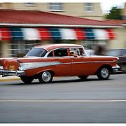 Vintage American car at speed, Havana, Cuba