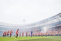 ROTTERDAM - Eerste training van Feyenoord , voetbal , seizoen 2015-2016 , Stadion De Kuip , 28-06-2015 , Spelers doen wat rek strek en loopoefeningen