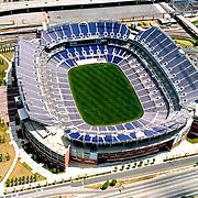 Aerial photograph of the Baltimore Ravens M&T Bank Stadium, newly built. ([Julia Robertson]/via AP Images)