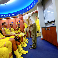 ANN ARBOR, MICHIGAN -- February 5, 2013 -- University of Michigan head coach John Beilein lays into his team at halftime on game day against rival Ohio State University in Ann Arbor, Michigan.  The Wolverines won 76-74 in overtime.   (PHOTO / CHIP LITHERLAND)