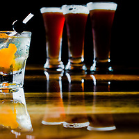 TAMPA, FL -- The Cigar City Brewing and Widmer Brothers Gentlemen's Club sampler is served with an old fashioned and three different ales aged in new oak spirals, bourbon barrels, and whiskey barrels at the Cigar City Brewing Brewpub in Tampa, Florida.  (Photo / Chip Litherland)