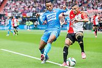 ROTTERDAM - Feyenoord - Willem II , Voetbal , Seizoen 2015/2016 , Eredivisie , Stadion de Kuip , 13-09-2015 , Willem II Speler Funso Ojo (l) in duel met Speler van Feyenoord Bilal Basaçikoglu (r)