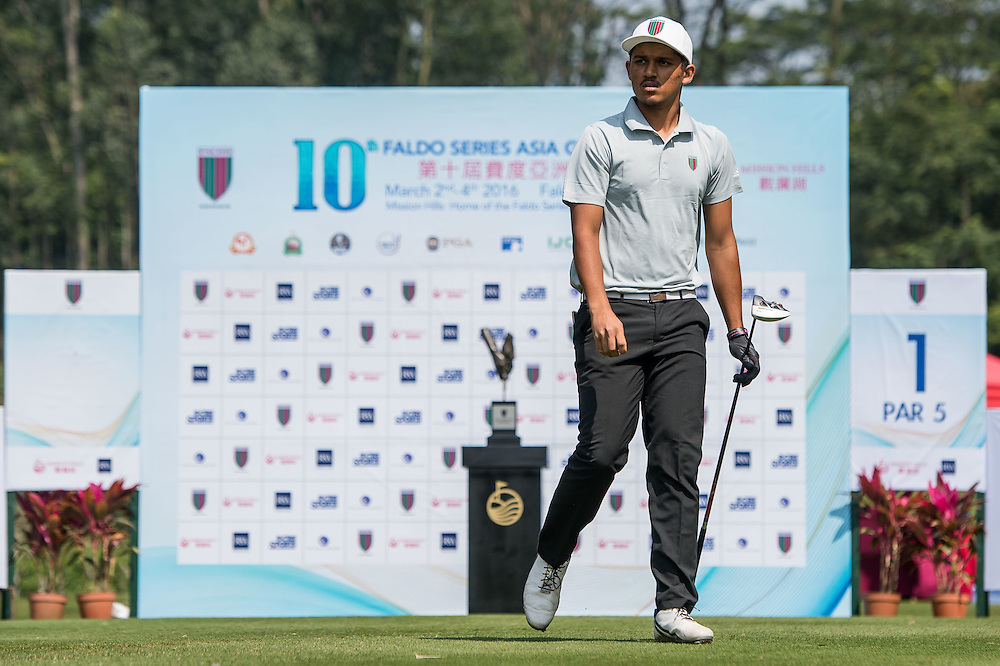 Shubhanm Narain of India in action during day one of the 10th Faldo Series Asia Grand Final at Faldo course in Shenzhen, China. Photo by Xaume Olleros.