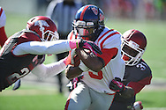 Ole Miss running back Jeff Scott (3) vs. Arkansas at War Memorial Stadium in Little Rock, Ark. on Saturday, October 27, 2012. Ole Miss won 30-27...