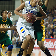 Delaware Forward Elena Delle Donne (11) drives the lane in first half of an NCAA college basketball game against George Mason Thursday, Feb. 23, 2012, at the Bob Carpenter Center in Newark, Del. (AP Photo/Saquan Stimpson)
