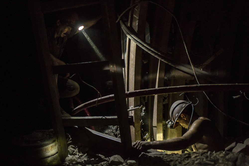 Miners make repairs 1000 meters underground at the Shcheglovskaya Coal Mine on Friday, March 25, 2016 in Makiivka, Ukraine.