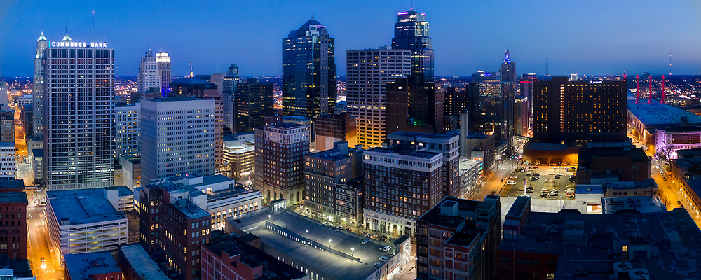 Downtown Kansas City, Missouri skyline panorama photography at dusk