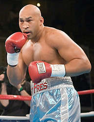 February 16, 2006 - New York, NY - Heavyweight Fres Oquendo moves forward during his 10 round heavyweight bout against Daniel Bispo at the Manhattan Center in New York, NY.  Oquendo won via 9th round TKO.