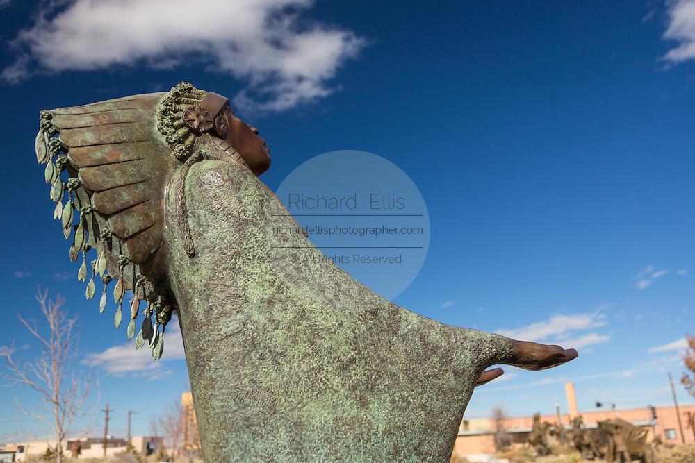 Sculpture Prayer by artist Allan Houser in the garden at the Albuquerque Museum in Albuquerque, New Mexico.