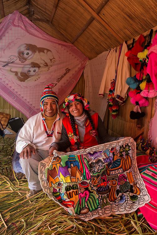 South America,Peru, Puno, Urus Islands, Lake Tititaca, Uros floatin villages