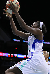 June 3, 2012; Newark, NJ, USA; New York Liberty forward Essence Carson (17) takes a shot during the first half of their game against the Indiana Fever at the Prudential Center.