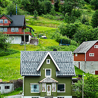 Green house typical of the architecural style around Olden fjord in Norway.
