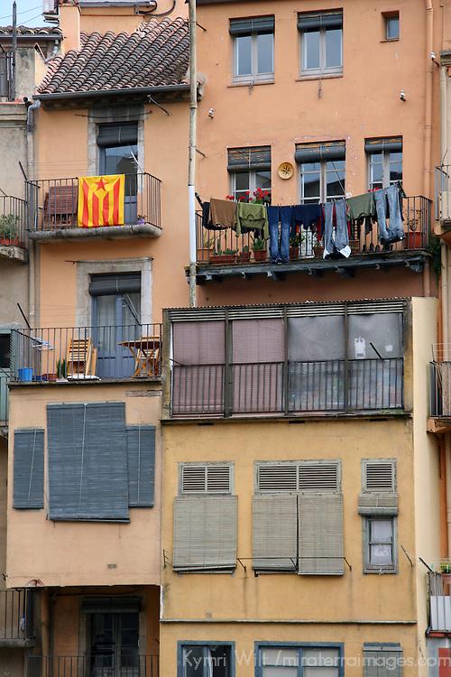 Europe, Spain, Girona. Girona facade.