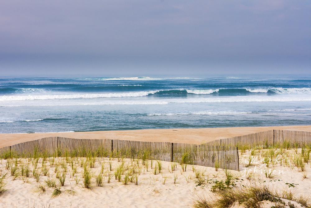 Coastal sand dunes and fencing, Praia de Costa Nova, Aveiro, Portugal
