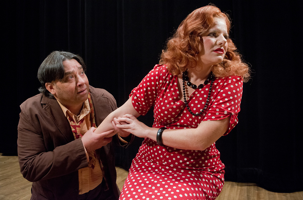 mkb031417e/arts/Marla Brose<br /> Cammy Cook, right, playing Nedda, and Carlos Archuleta, playing Tonio, are performing in Opera Southwest's &quot;Pagliacci&quot;. (Marla Brose/Albuquerque Journal)