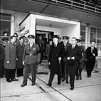 President Eamon De Valera and Irish Cadets leave for President Kennedy's funeral in Washington. Picture shows President De Valera boarding the plane which will fly to Washington. On the left is General Sean Mac Eoin, Chief of Staff, who will accompany him to America. .24.11.1963