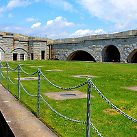Courtyard at Fort Knox in Prospect, Maine<br /> The beautifully preserved Fort Knox in Penobscot, Maine, was built with granite in the mid-19th century to guard the Penobscot River from a potential British invasion. The attack never came. The fortress was also manned during the Civil and Spanish-American Wars but still never saw a military conflict. The 124 acre, former military post is now the Fort Knox State Park. It is fun walking around this U. S. National Historic Landmark.