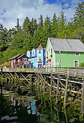 Ketchikan, Alaska. Creek Street in Ketchikan, with pier front houses along the tidal slough.